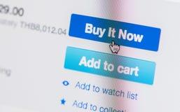 Remettez le curseur de souris sur l'achat qu'il se boutonnent maintenant photo stock