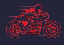 Remettez le dessin de l'homme montant la vieille moto de coureur de café Illustration de Vecteur
