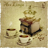 Remettez le dessin de la broyeur et deux tasses de café Illustration de vecteur Image stock