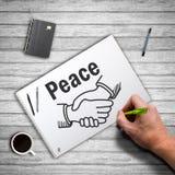 Remettez le dessin se serrant la main et la paix de mot Photographie stock libre de droits