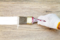 Remettez le gant blanc de port tenant le vieux pinceau grunge et le peignant sur le mur en bois Photographie stock libre de droits