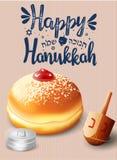 Remettez le lettrage écrit avec le ` heureux de Hanoucca de ` des textes Image stock