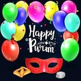 Remettez le lettrage écrit avec le ` heureux de Purim de ` des textes Images stock