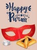 Remettez le lettrage écrit avec le ` heureux de Purim de ` des textes Photos stock