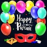 Remettez le lettrage écrit avec le ` heureux de Purim de ` des textes Photo stock