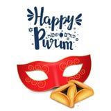 Remettez le lettrage écrit avec le ` heureux de Purim de ` des textes sur le fond blanc Image libre de droits