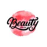 Remettez le logo, le label, l'insigne ou l'emblème lttering écrit de salon de beauté Photos libres de droits