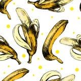 Remettez le modèle de dessin avec des bananes sur un blanc Photo stock