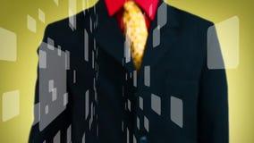 Remettez le pressing un de beaucoup de boutons virtuels, fond jaune banque de vidéos