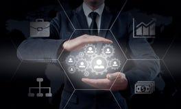 Remettez le réseau de transport d'icône d'homme d'affaires - concept d'heure, de HRM, de MLM, de travail d'équipe et de direction Photos stock
