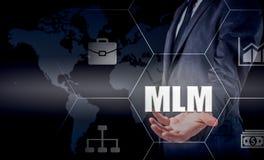 Remettez le réseau de transport d'icône d'homme d'affaires - concept d'heure, de HRM, de MLM, de travail d'équipe et de direction Photo stock
