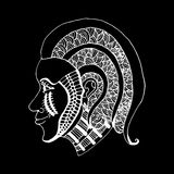 Remettez le style de modèles de la tête de la fille d'aspiration du zentangle Image libre de droits