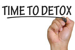 Remettez le temps d'écriture au detox au-dessus du fond blanc simple Images stock