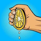 Remettez le vecteur de style de bande dessinée d'art de bruit de citron de compression Images libres de droits