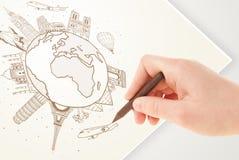 Remettez le voyage de vacances de dessin autour de la terre avec des points de repère et c Photographie stock libre de droits