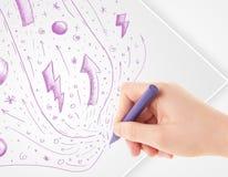 Remettez les croquis et les griffonnages abstraits de dessin sur le papier Image libre de droits
