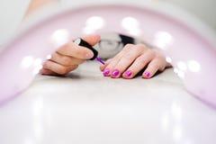 Remettez les ongles de peintures, le pourpre de gel, manucure dans la lampe Images stock