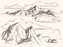 Remettez les paysages esquissés de montagne avec le lac, pierres, clounds illustration stock