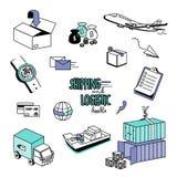 Remettez les styles de dessin pour l'expédition et les articles logistiques Images stock