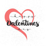 Remettez marquer avec des lettres l'affiche calligraphique de typographie de partie jour de valentines heureux sur le fond rouge  Photographie stock
