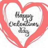Remettez marquer avec des lettres l'affiche calligraphique de typographie de partie jour de valentines heureux sur le fond rouge  Photos stock