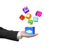 Remettez montrer les icônes colorées lumineuses par boîte de nuage d'isolement sur le wh Photos stock