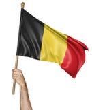 Remettez onduler fièrement le drapeau national de la Belgique illustration libre de droits