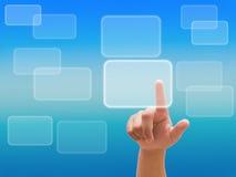 Remettez pousser un bouton sur une surface adjacente d'écran tactile Photo libre de droits