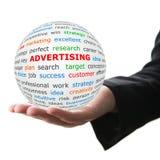 Remettez prennent la boule blanche avec la publicité rouge d'inscription Images libres de droits