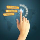 Remettez presser l'icône sociale de media sur le fond bleu avec le monde mA Photo stock