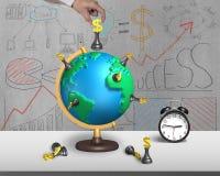Remettez tenir des échecs sur le globe de la carte 3d avec l'horloge Photographie stock