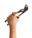 Remettez tenir des paires de poignées en acier de taupe avec les mâchoires réglables Photo libre de droits