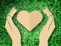 Remettez tenir l'amour de coeur le fond d'herbe de symbole de nature Image libre de droits