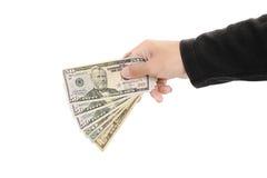Remettez tenir l'argent liquide, d'isolement sur le fond blanc Images libres de droits