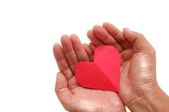 Remettez tenir l'origami rouge de papier de coeur sur le fond blanc Photo stock