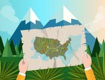 Remettez tenir la chasse de cheminement de l'Amérique de carte dans le coucher du soleil de jungle de bande dessinée d'illustrati Images stock