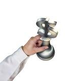 Remettez tenir le morceau de symbole d'argent du ruban 3D USD Photographie stock