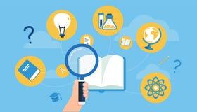 Remettez tenir le rapport optique aux icônes de recherche dans un vecteur de livre Images stock