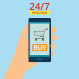 Remettez tenir le smartphone avec le panier sur l'écran Les achats sont des 24 heures disponibles Nourriture d'ordre en ligne Ill photo stock