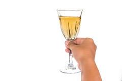 Remettez tenir le vin blanc en verre cristal et préparez pour griller Images stock
