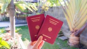 Remettez tenir les passeports allemands devant un jardin tropical Photos stock
