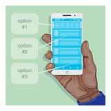 Remettez tenir un smartphone avec une certaine application mobile Photographie stock libre de droits