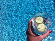Remettez tenir un verre de poolside de l'eau de concombre Photographie stock