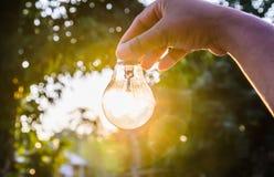 Remettez tenir une ampoule avec le concept de puissance de coucher du soleil Photographie stock