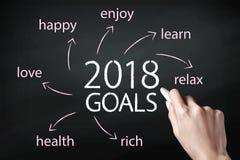 Remettez tenir une craie et écrire 2018 buts Images libres de droits