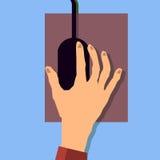 Remettez tenir une icône de souris vecteur plat de conception Photographie stock
