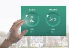 Remettez toucher une interface à la maison du système APP de caméra de sécurité Photo stock