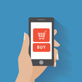 Remettez trouer le téléphone intelligent avec le bouton d'achat sur illustration stock