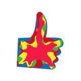 Remettez votre doigt jusqu'au dessus la main de couleur aiment photographie stock libre de droits