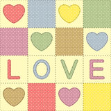 Remiendo con los corazones y el amor Imagenes de archivo